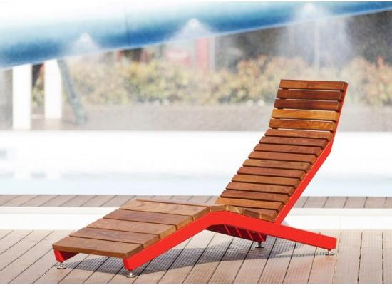 Фото 1. Красный - RIVAGE | Шезлонг из стали и дерева