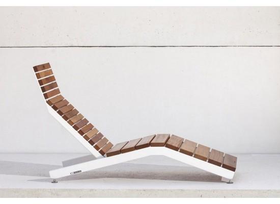 Фото 1. Белый - RIVAGE | Шезлонг из стали и дерева