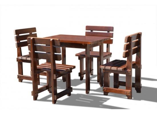Фото 1. Деревянная садовая мебель для ужина